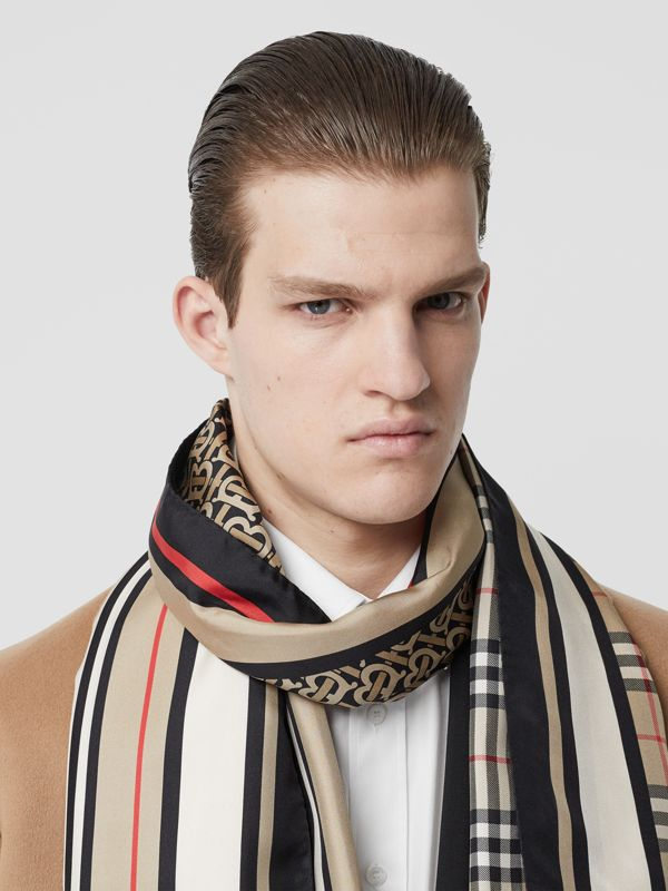 Monogram, Icon Stripe and Check Print Silk Scarf in Archive Beige | Burberry - cell image 3