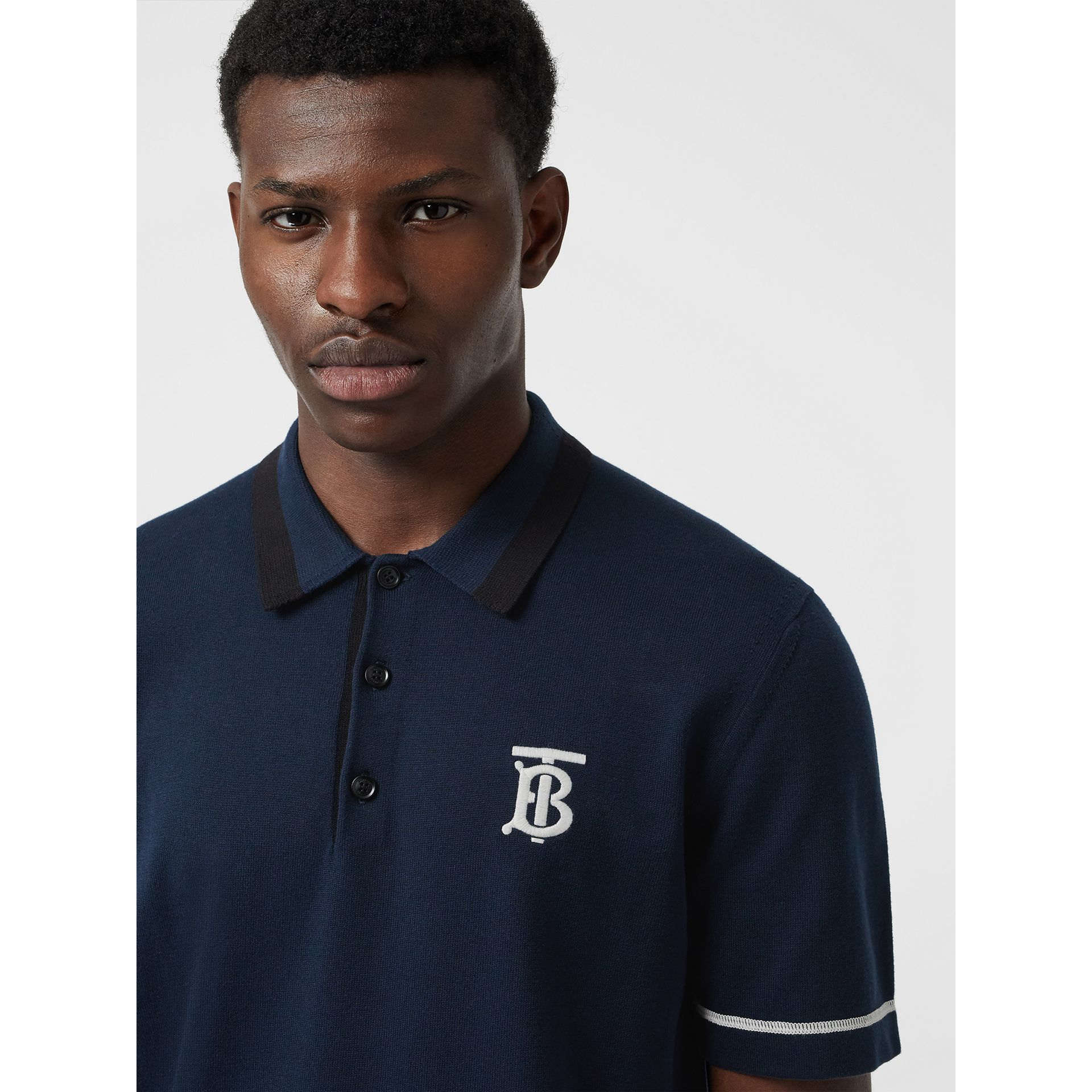 Monogram Motif Tipped Cotton Polo Shirt in Navy - Men | Burberry Hong Kong - gallery image 1
