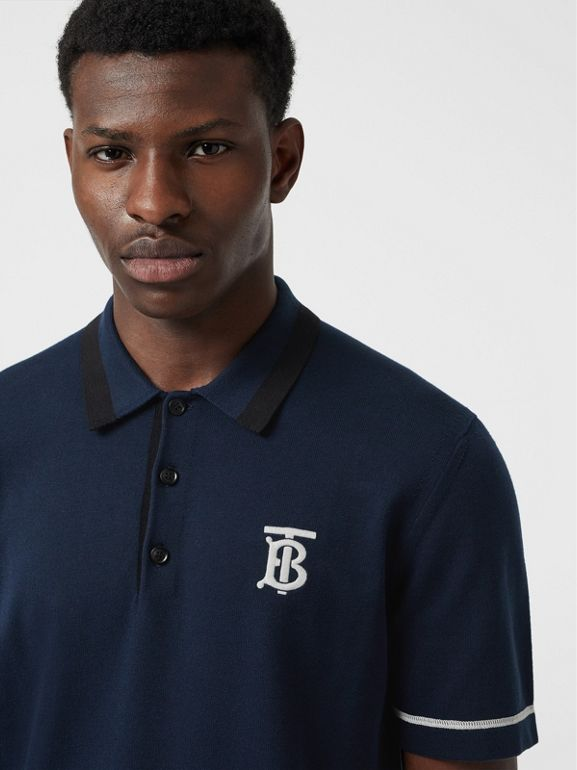Monogram Motif Tipped Cotton Polo Shirt in Navy - Men | Burberry - cell image 1