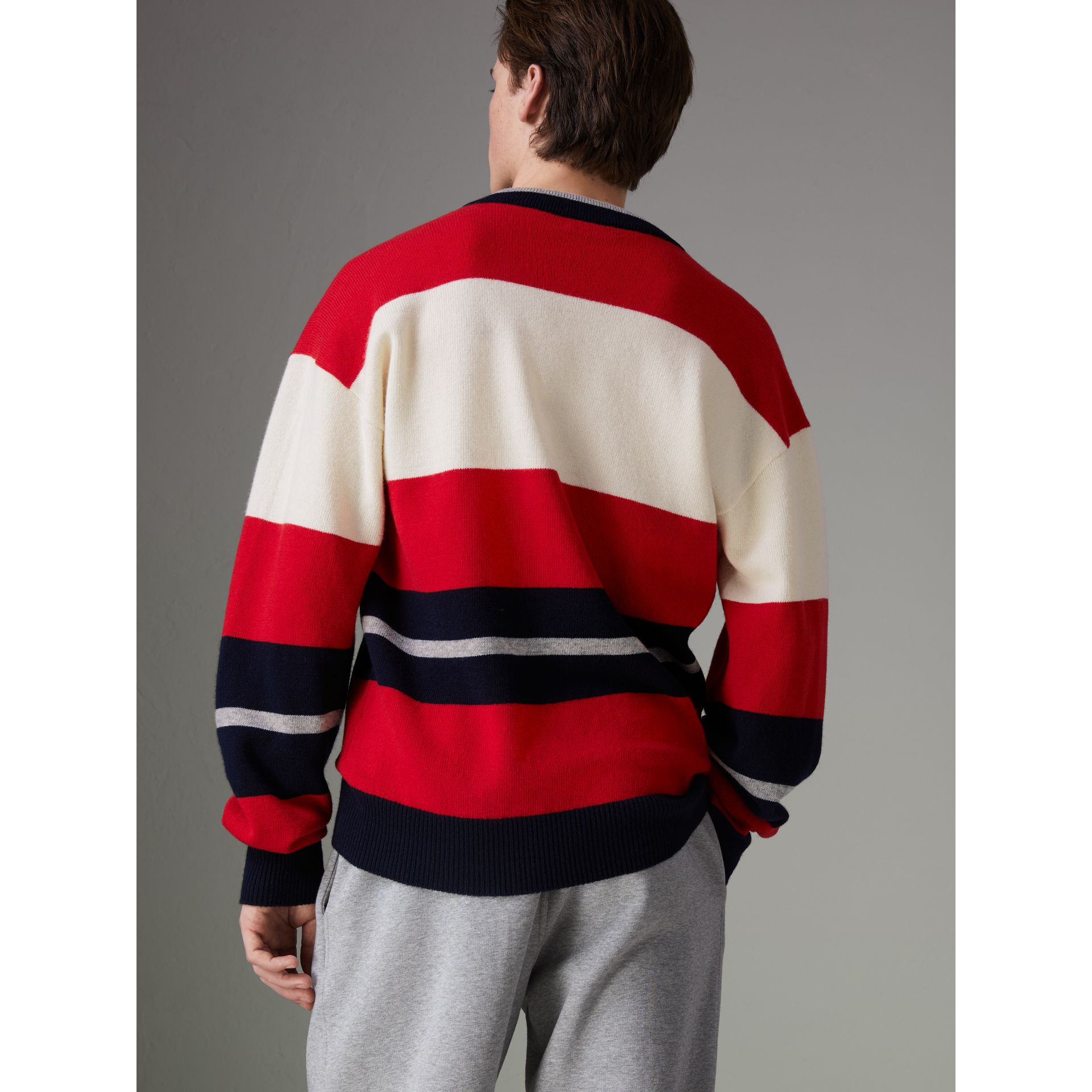 Reissued Striped Lambswool Sweater in Red/white - Men | Burberry United Kingdom - gallery image 2