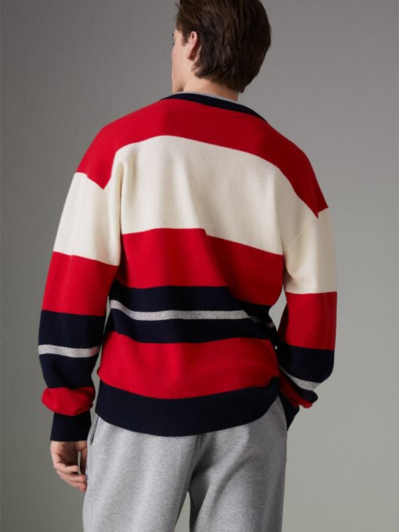 Reissued Striped Lambswool Sweater in Red/white - Men | Burberry Hong Kong - cell image 2