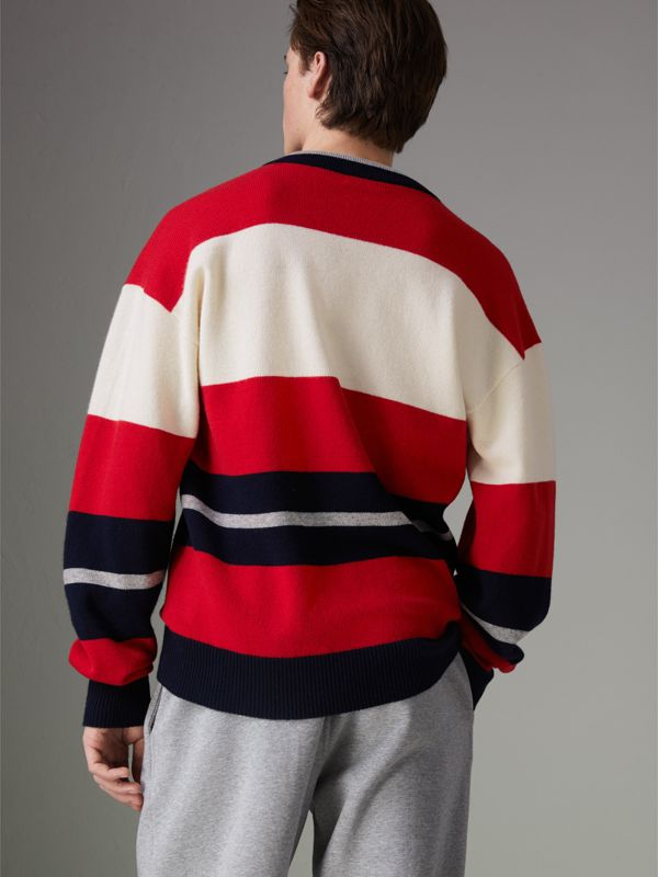 Reissued Striped Lambswool Sweater in Red/white - Men | Burberry United Kingdom - cell image 2