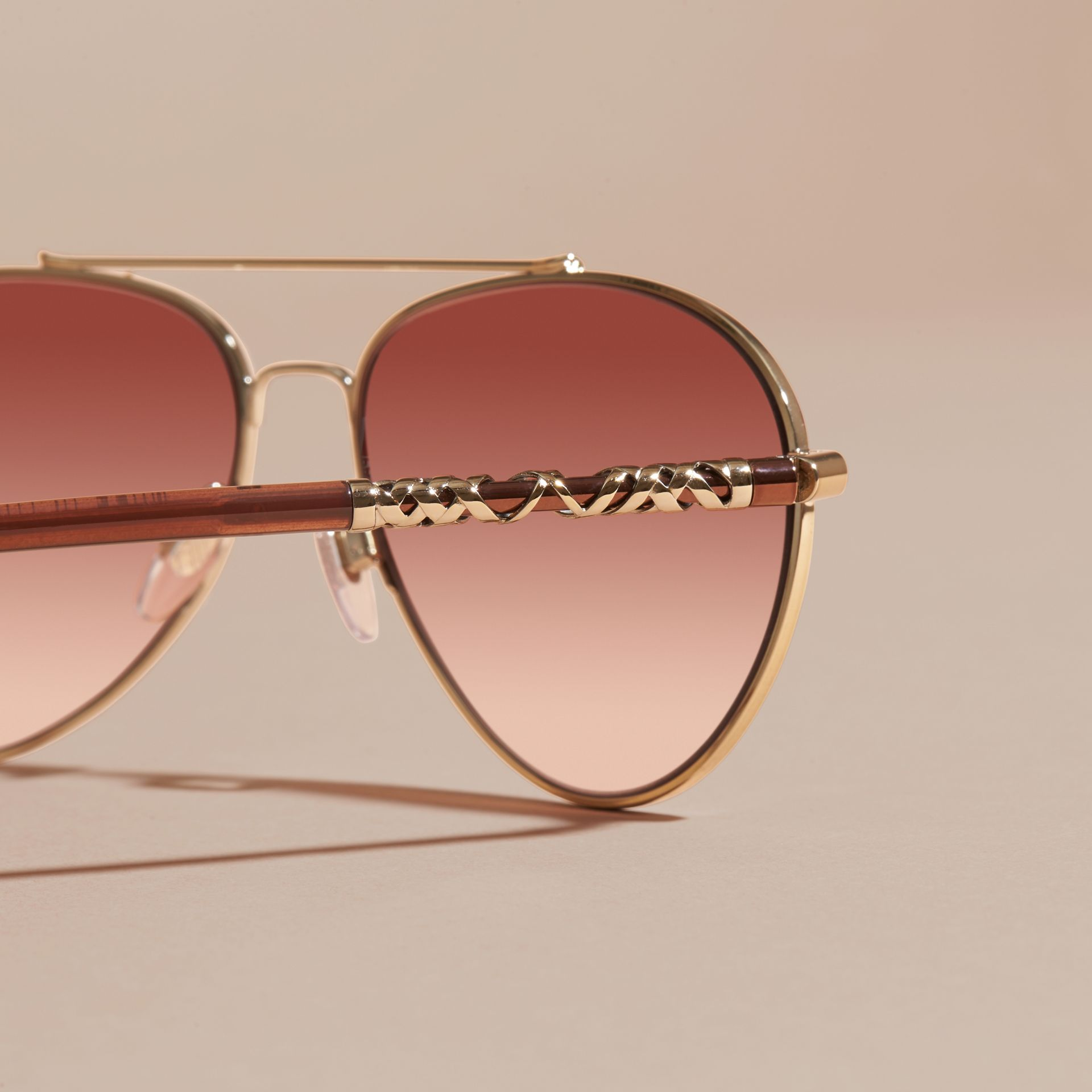 Pale gold Check Detail Aviator Sunglasses Pale Gold - gallery image 2