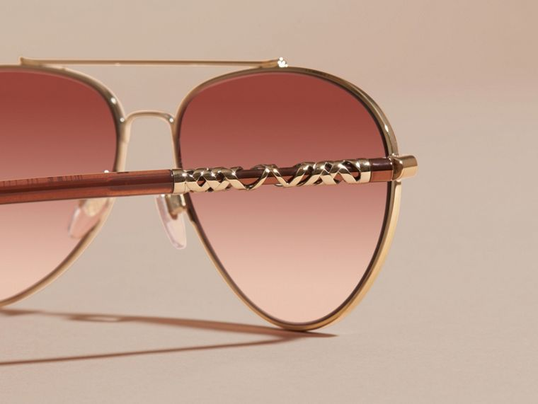 Pale gold Check Detail Aviator Sunglasses Pale Gold - cell image 1