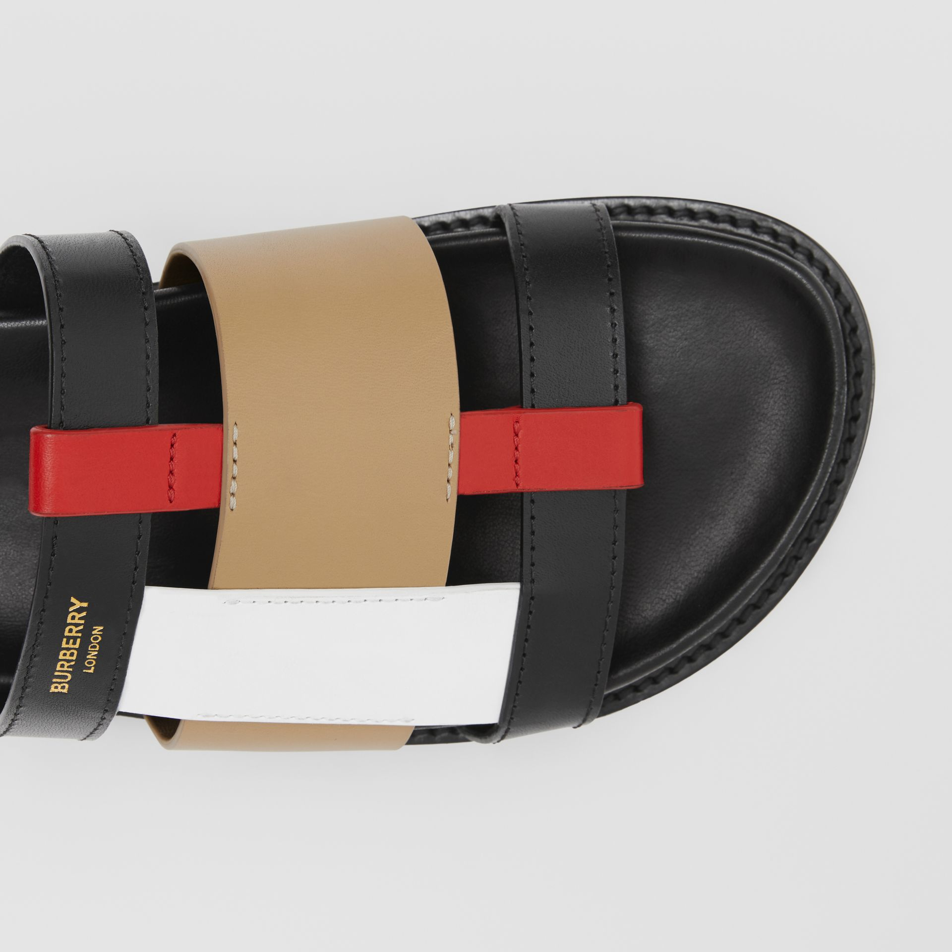 Colour Block Leather Slides in Black/archive Beige - Women | Burberry Hong Kong S.A.R - gallery image 1