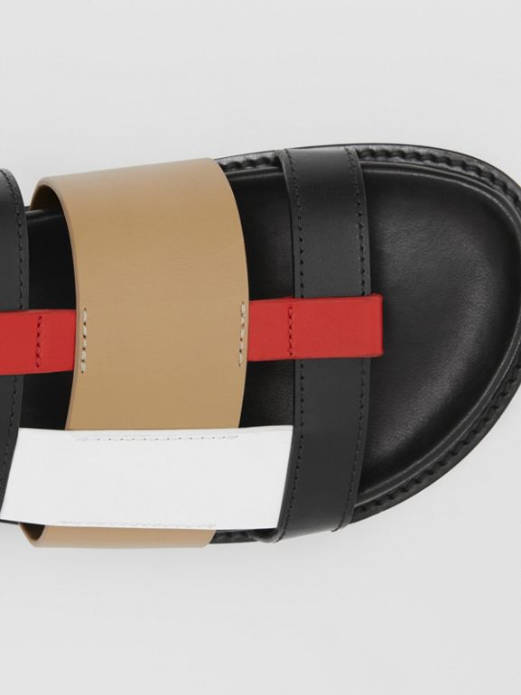 Colour Block Leather Slides in Black/archive Beige - Women | Burberry Hong Kong S.A.R - cell image 1