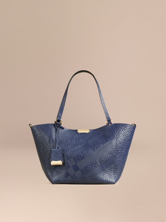 The Small Canter in Check Embossed Leather Blue Carbon