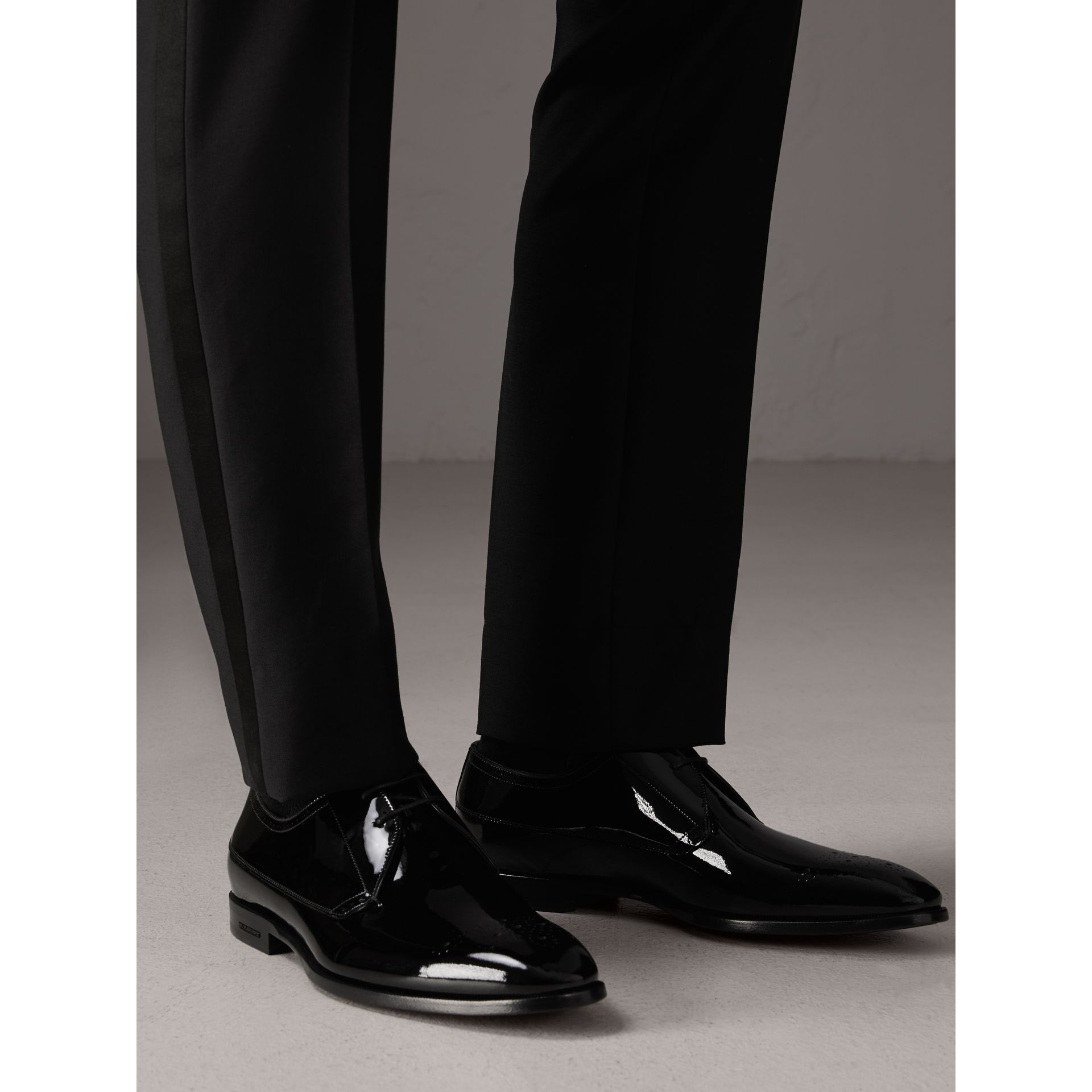 Broguing Detail Polished Leather Derby Shoes in Black - Men | Burberry United Kingdom - gallery image 2