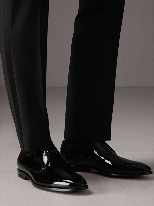 Broguing Detail Polished Leather Derby Shoes in Black - Men | Burberry Singapore - cell image 2