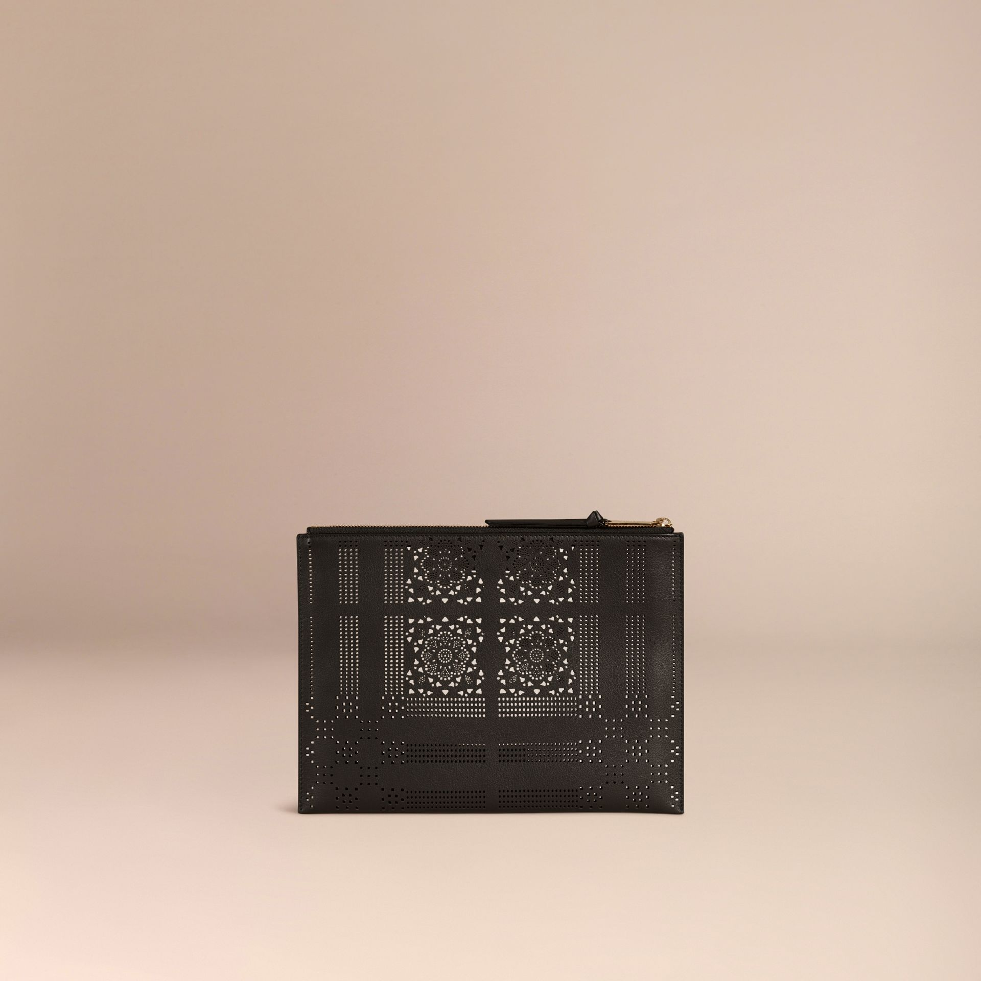 Black Extra-large Laser-cut Lace Leather Beauty Wallet - gallery image 4