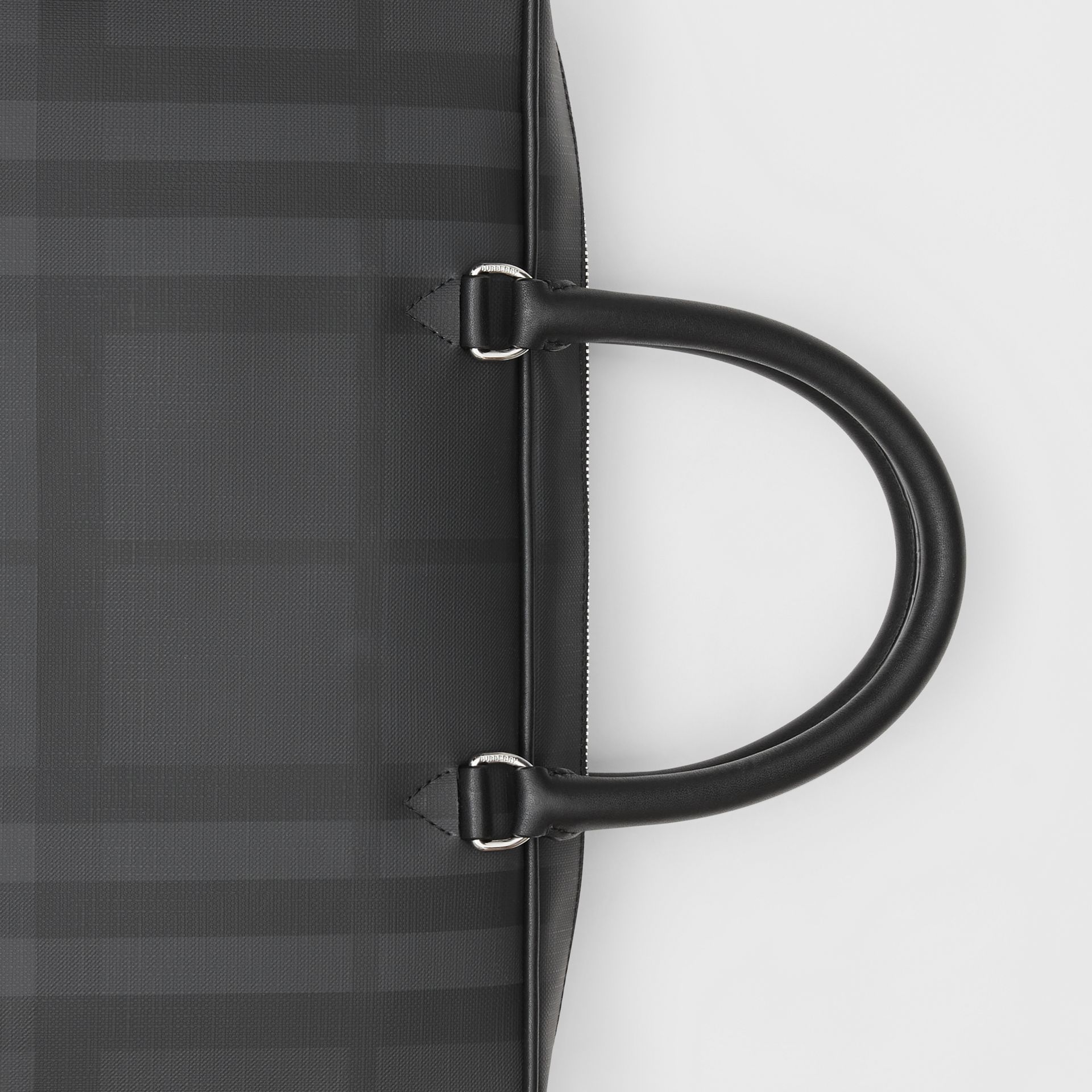London Check and Leather Briefcase in Dark Charcoal - Men | Burberry Australia - gallery image 1