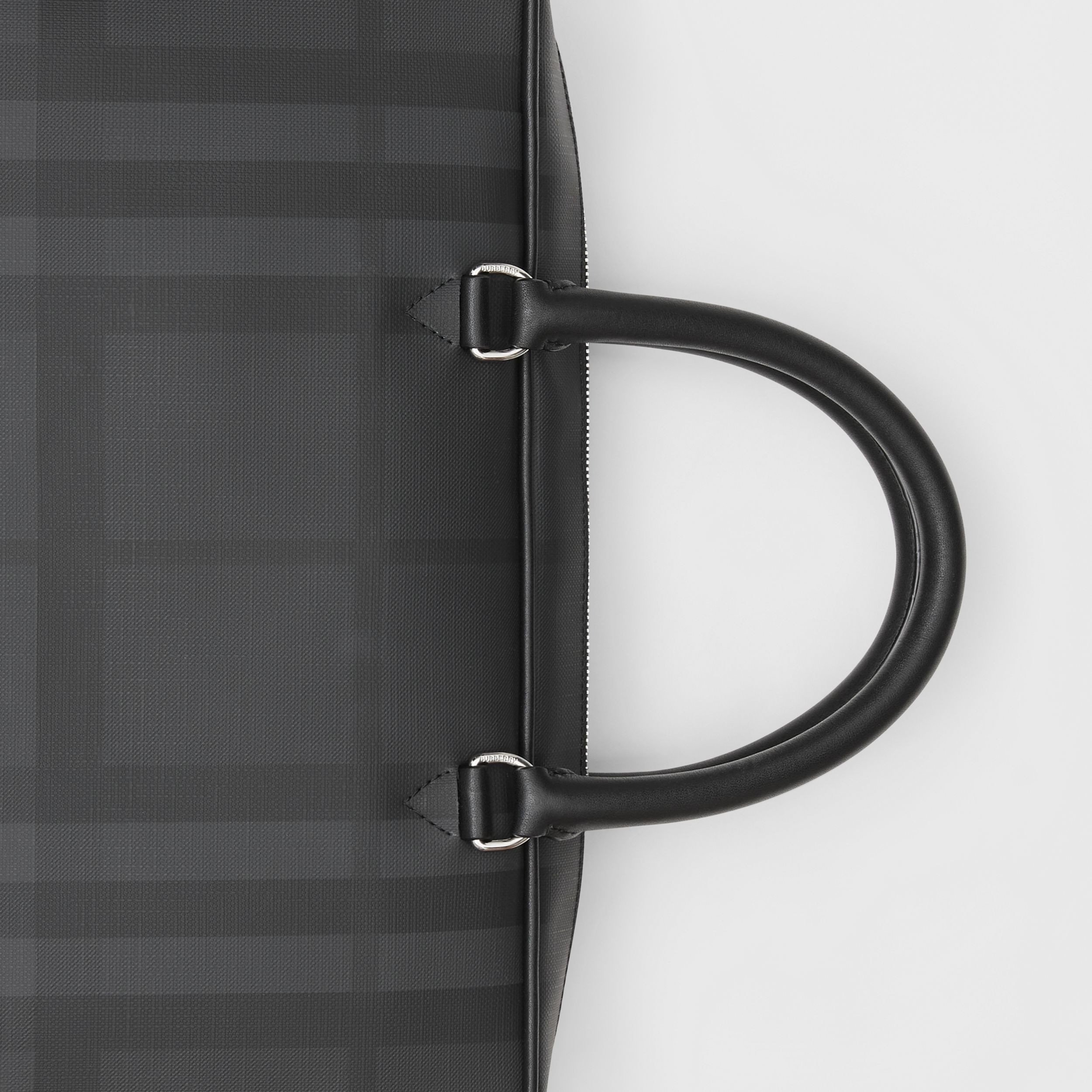London Check and Leather Briefcase in Dark Charcoal - Men | Burberry Hong Kong S.A.R. - 2