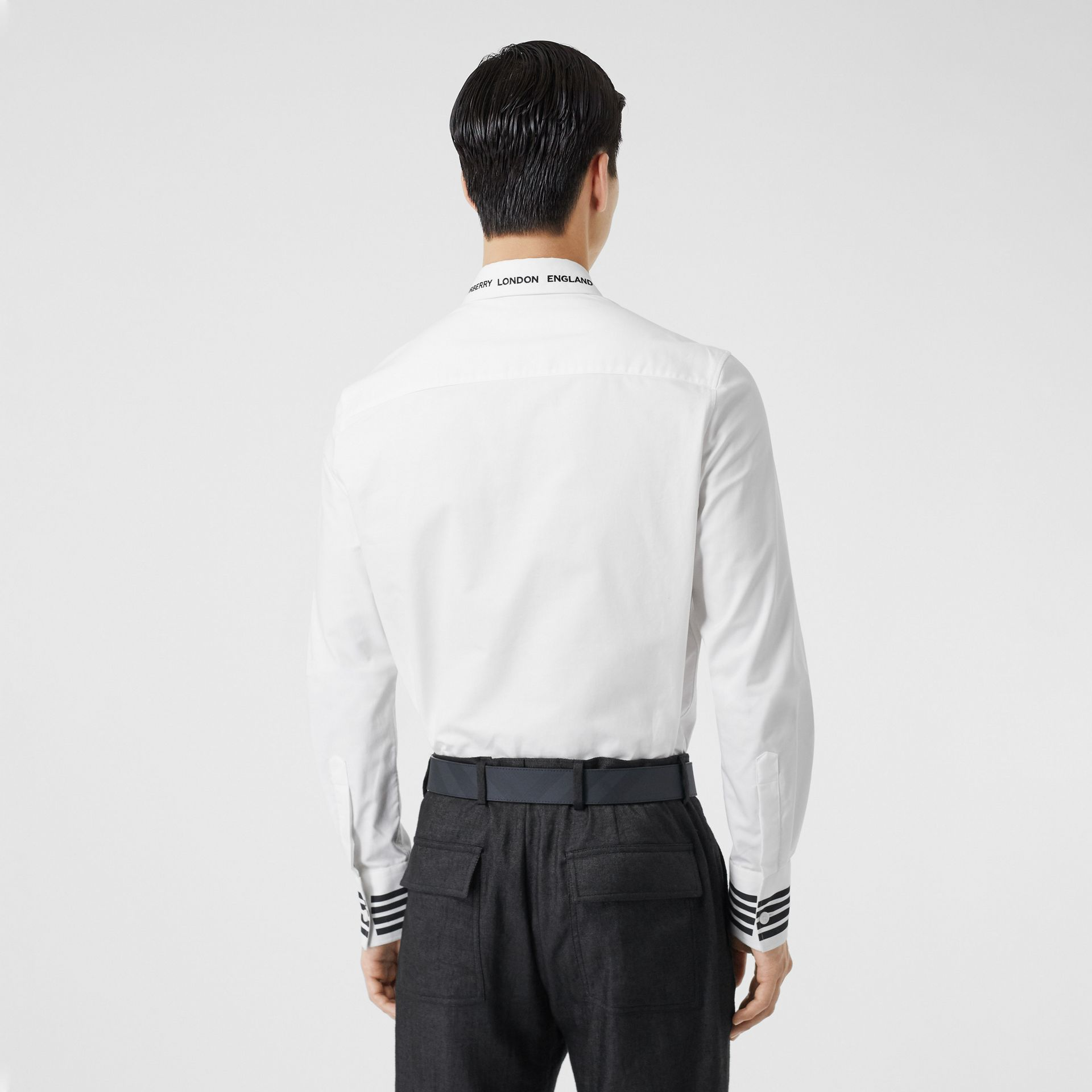 Stripe Print Cotton Oxford Shirt in White - Men | Burberry - gallery image 2