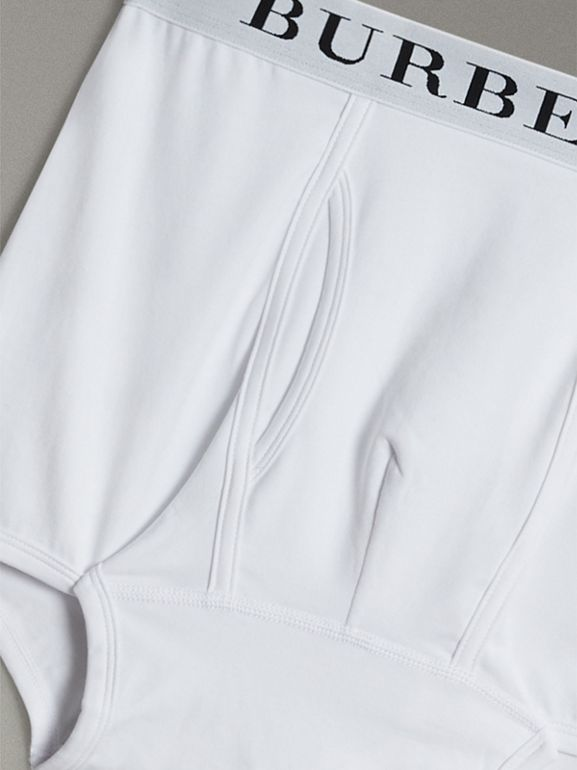 Stretch Cotton Boxer Shorts in White - Men | Burberry Singapore - cell image 1
