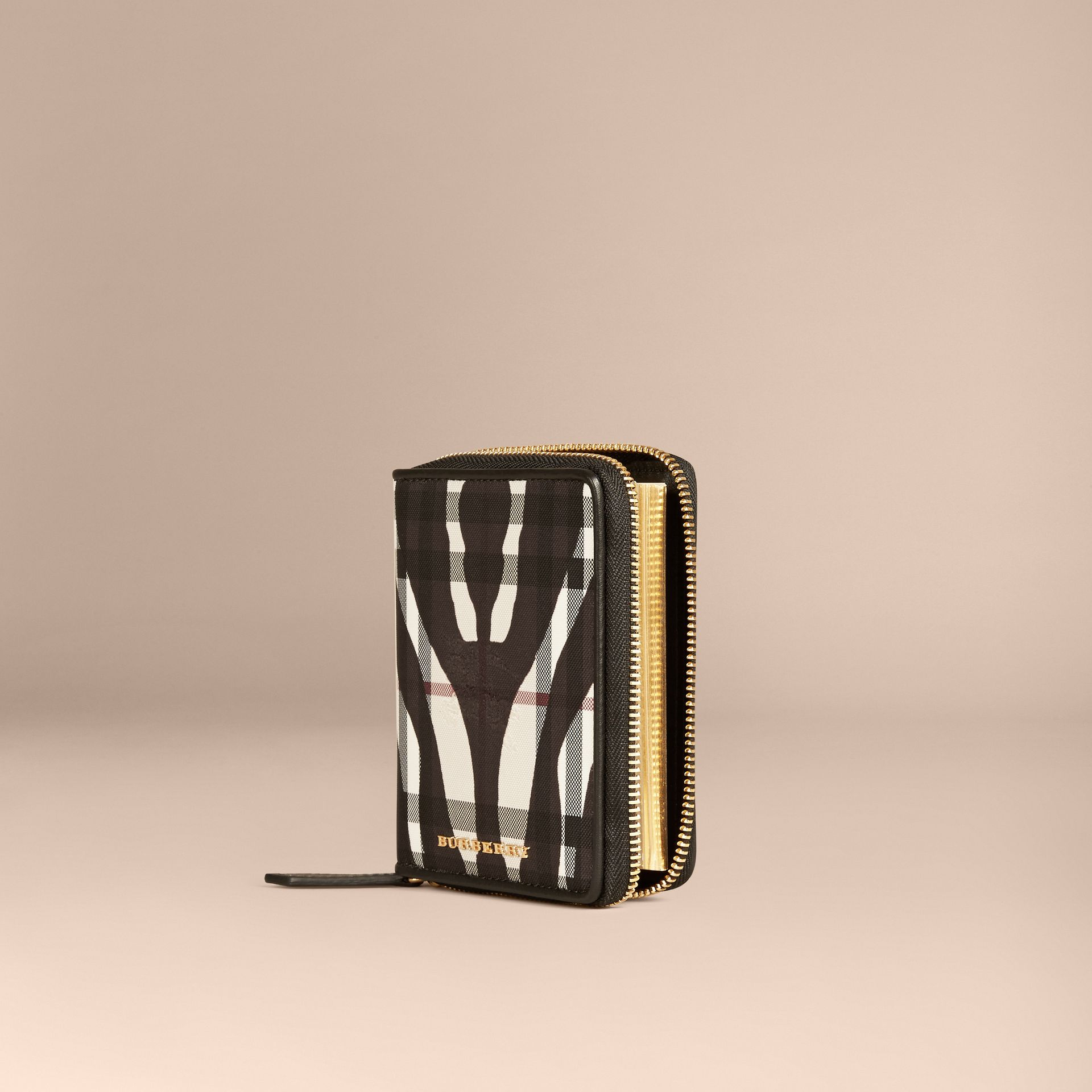 Nero Mini taccuino con cerniera su tre lati, motivo Horseferry check e stampa animalier - immagine della galleria 1