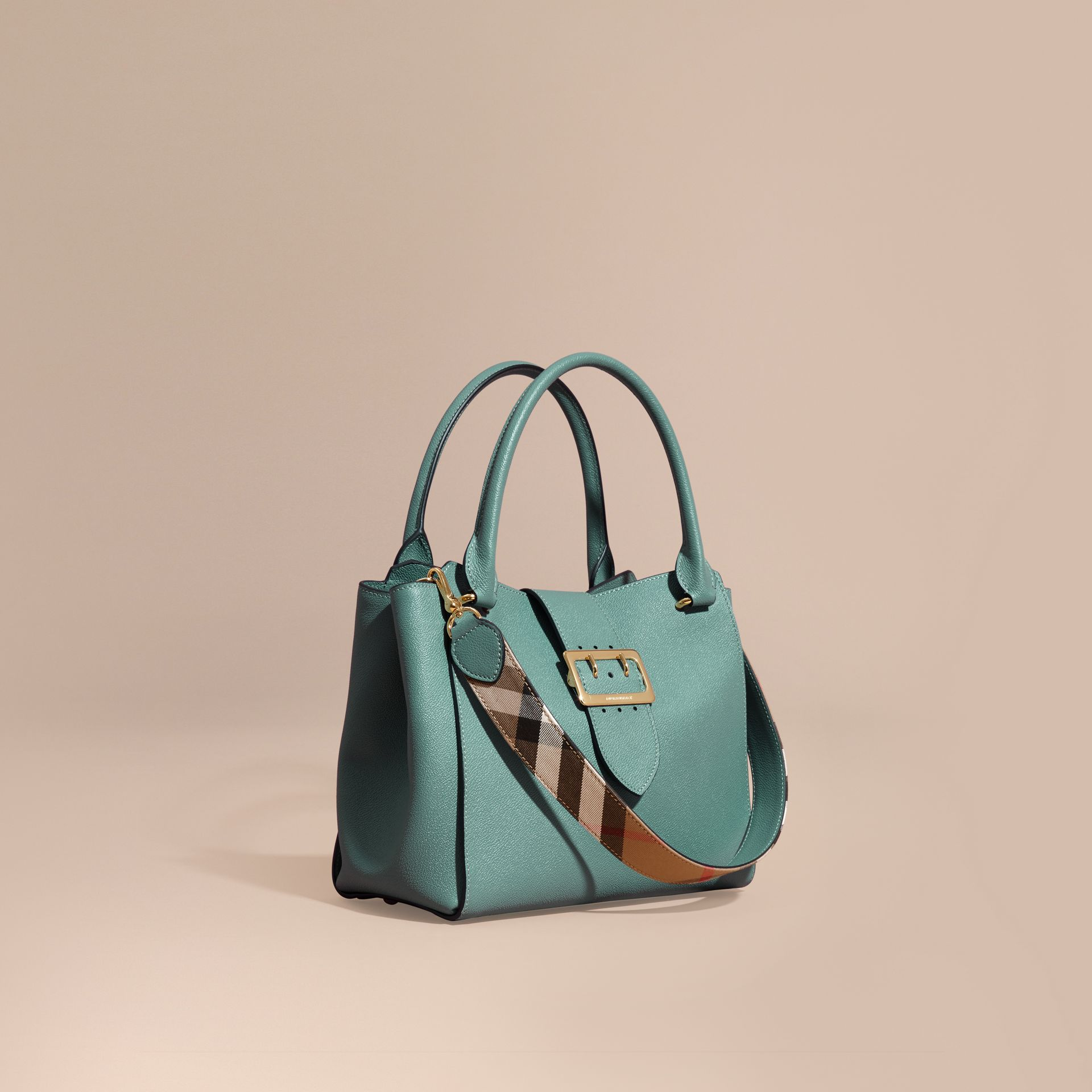 The Medium Buckle Tote in Grainy Leather in Eucalyptus Green - gallery image 1
