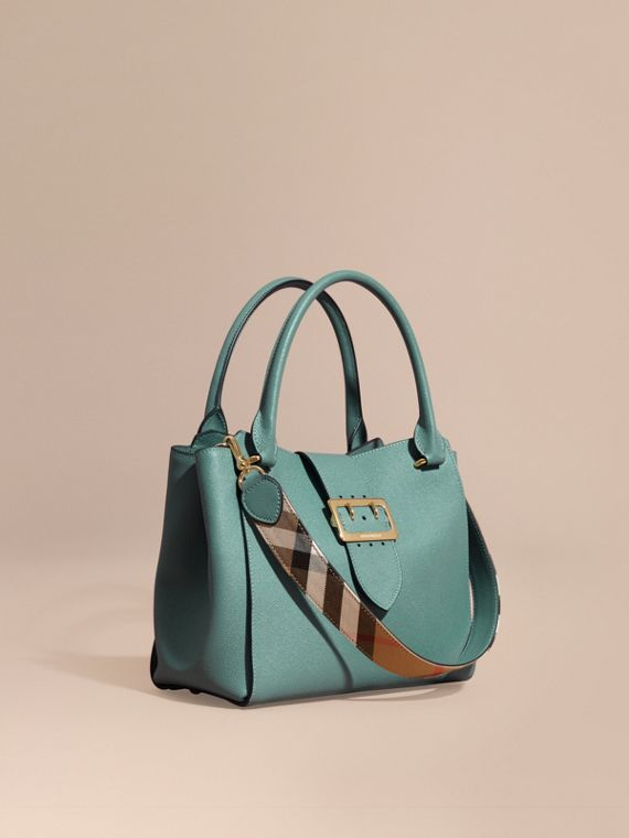 Borsa tote The Buckle media in pelle a grana Verde Eucalipto