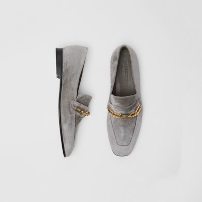 Link Detail Suede Loafers in Grey