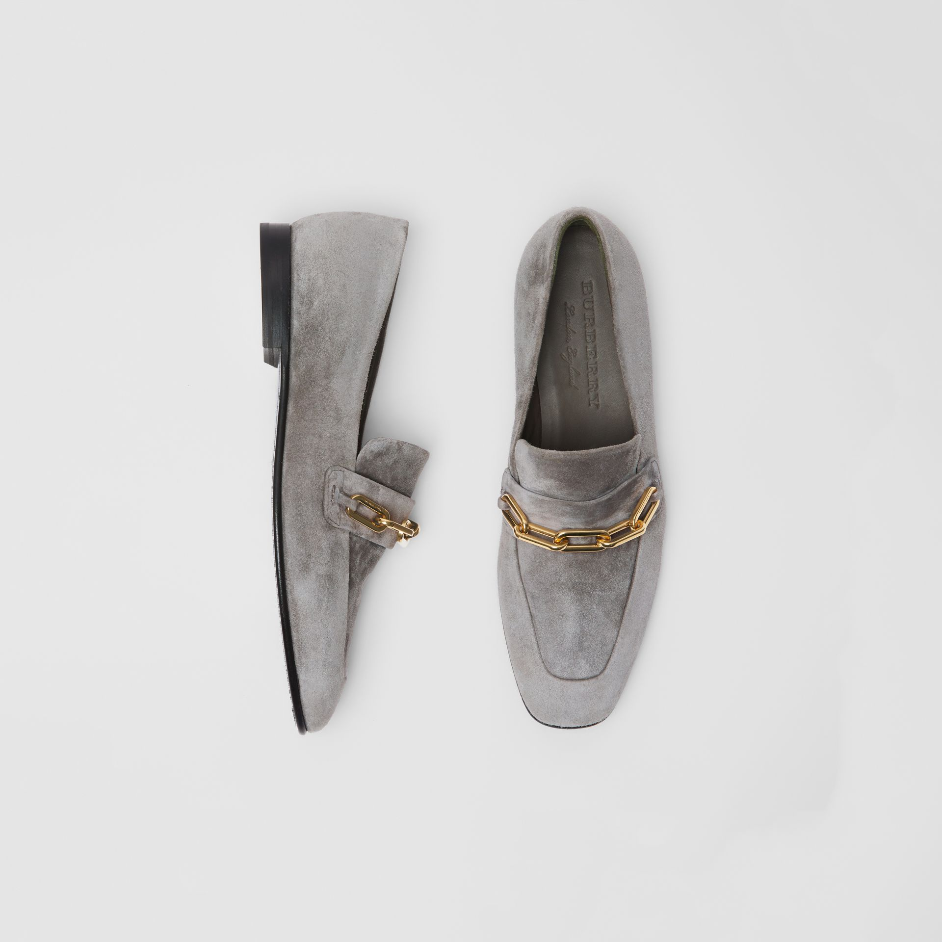 Link Detail Suede Loafers in Smokey Grey - Women | Burberry - gallery image 0