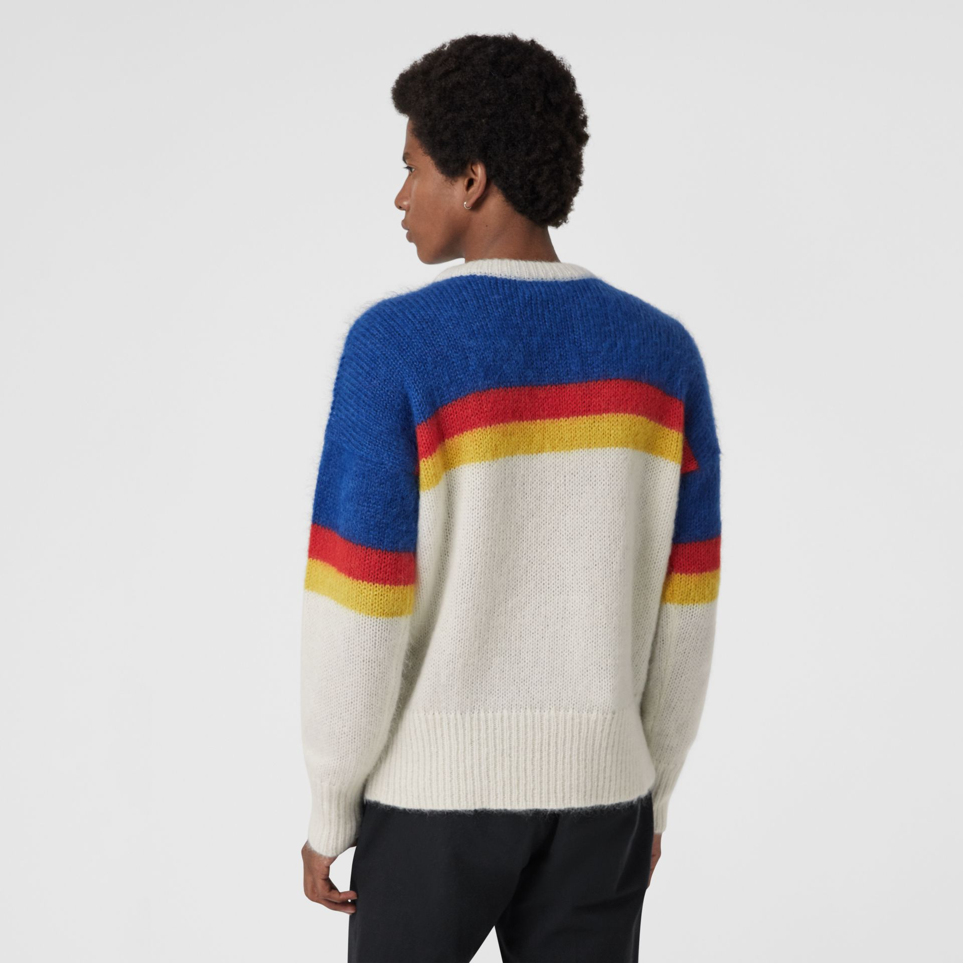 Striped Logo Intarsia Mohair Wool Blend Sweater in Cerulean Blue - Men | Burberry - gallery image 2