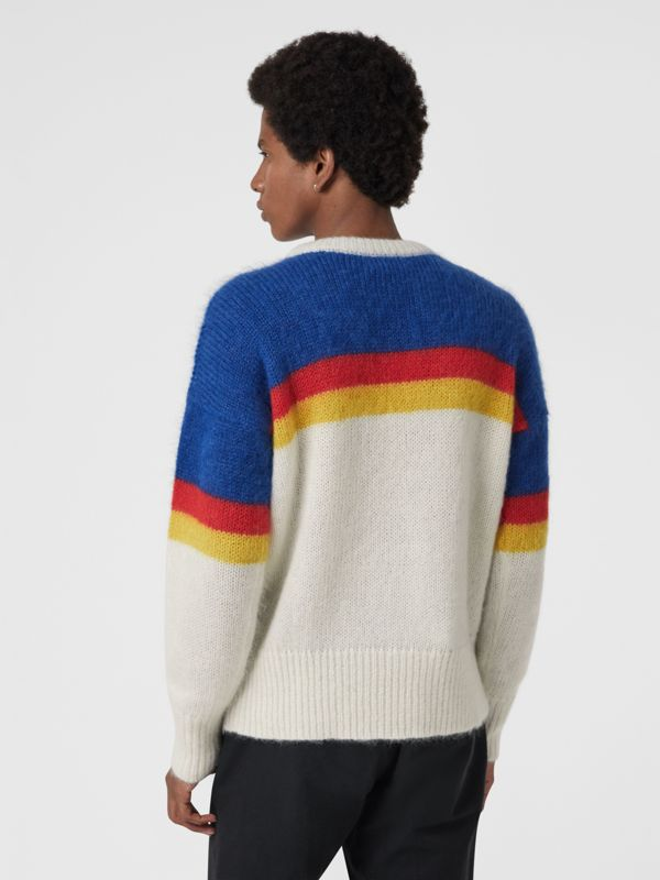 Striped Logo Intarsia Mohair Wool Blend Sweater in Cerulean Blue - Men | Burberry - cell image 2