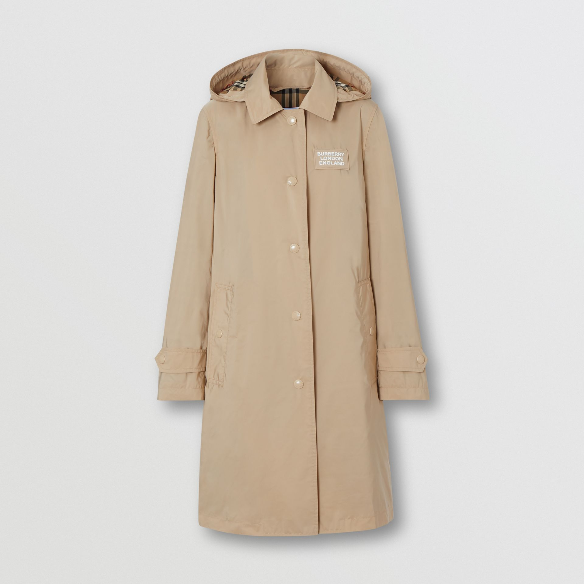 Detachable Hood Shape-memory Taffeta Car Coat in Dusty Beige - Women | Burberry United States - gallery image 3