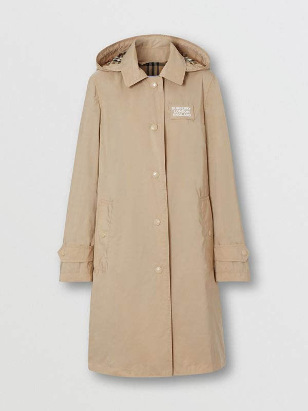 Detachable Hood Shape-memory Taffeta Car Coat in Dusty Beige - Women | Burberry Australia - cell image 3