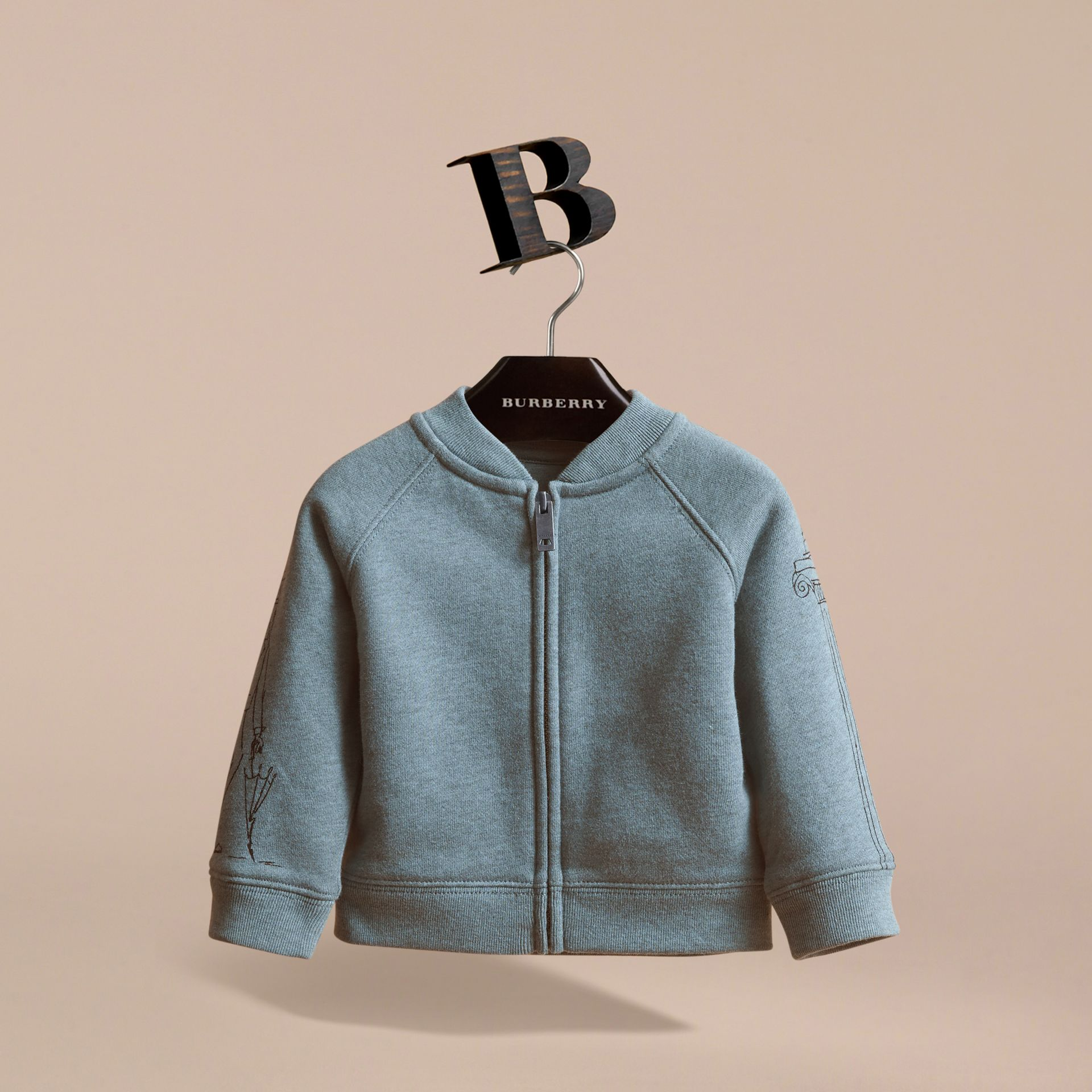 London Icons Print Cotton Zip-front Sweatshirt in Dusty Blue - Children | Burberry - gallery image 3