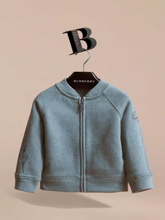 London Icons Print Cotton Zip-front Sweatshirt in Dusty Blue - Children | Burberry Singapore - cell image 2