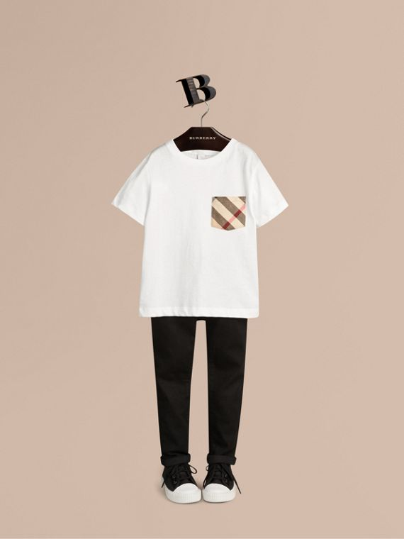 Check Pocket Cotton T-shirt in White