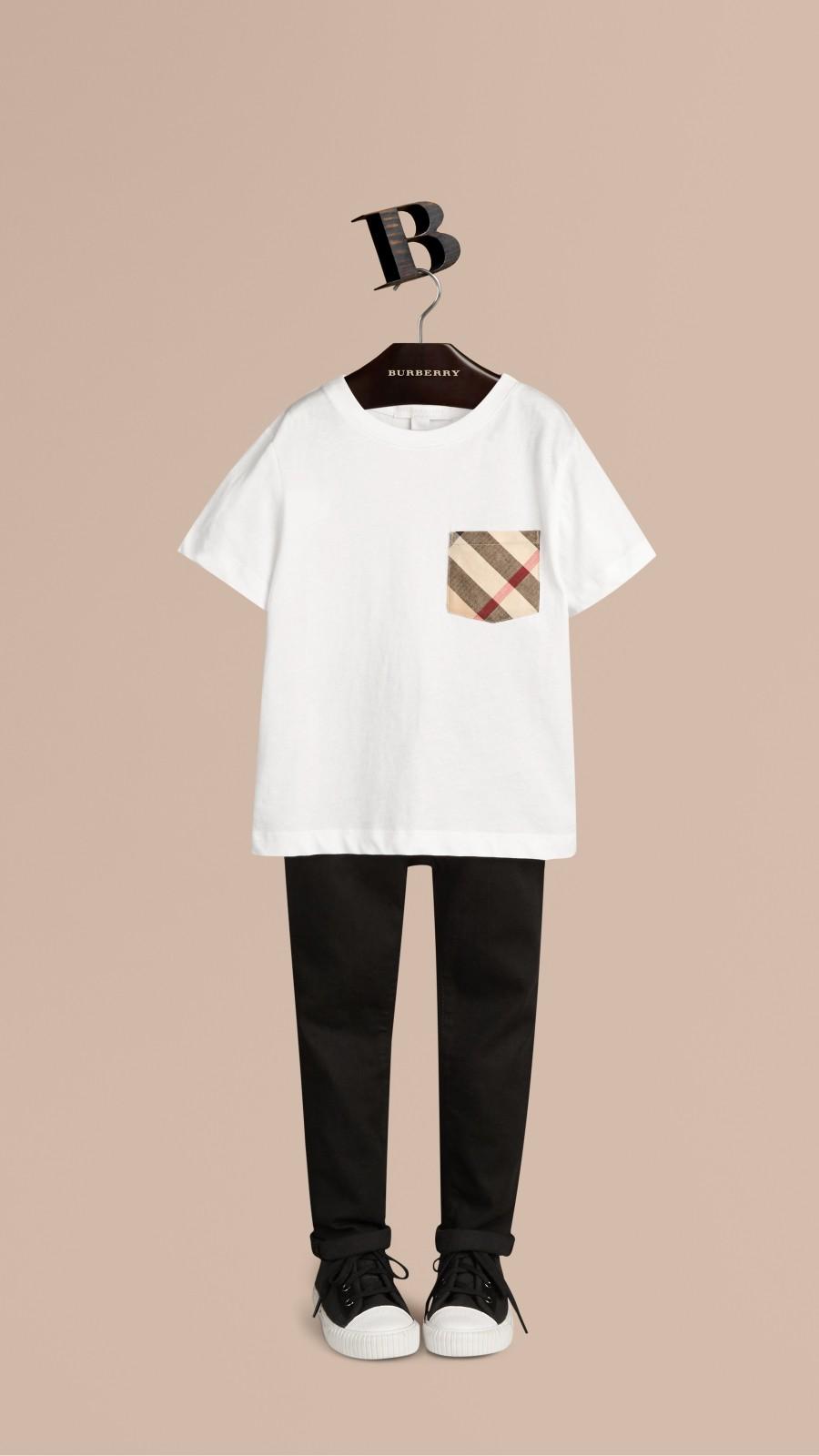White Check Pocket T-Shirt White - Image 1