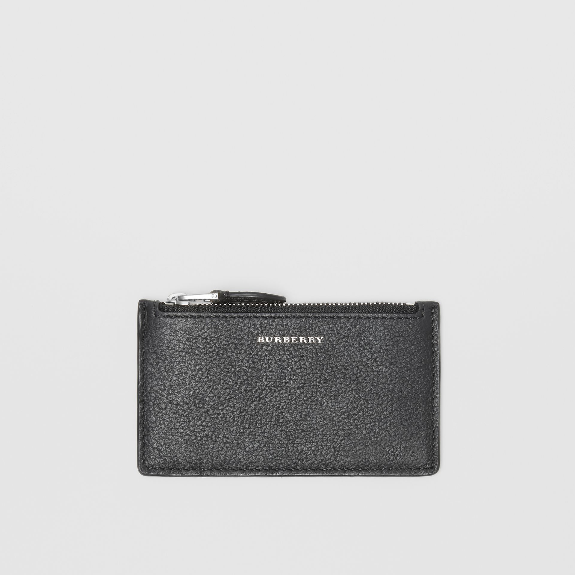Two-tone Leather Zip Card Case in Black | Burberry - gallery image 0