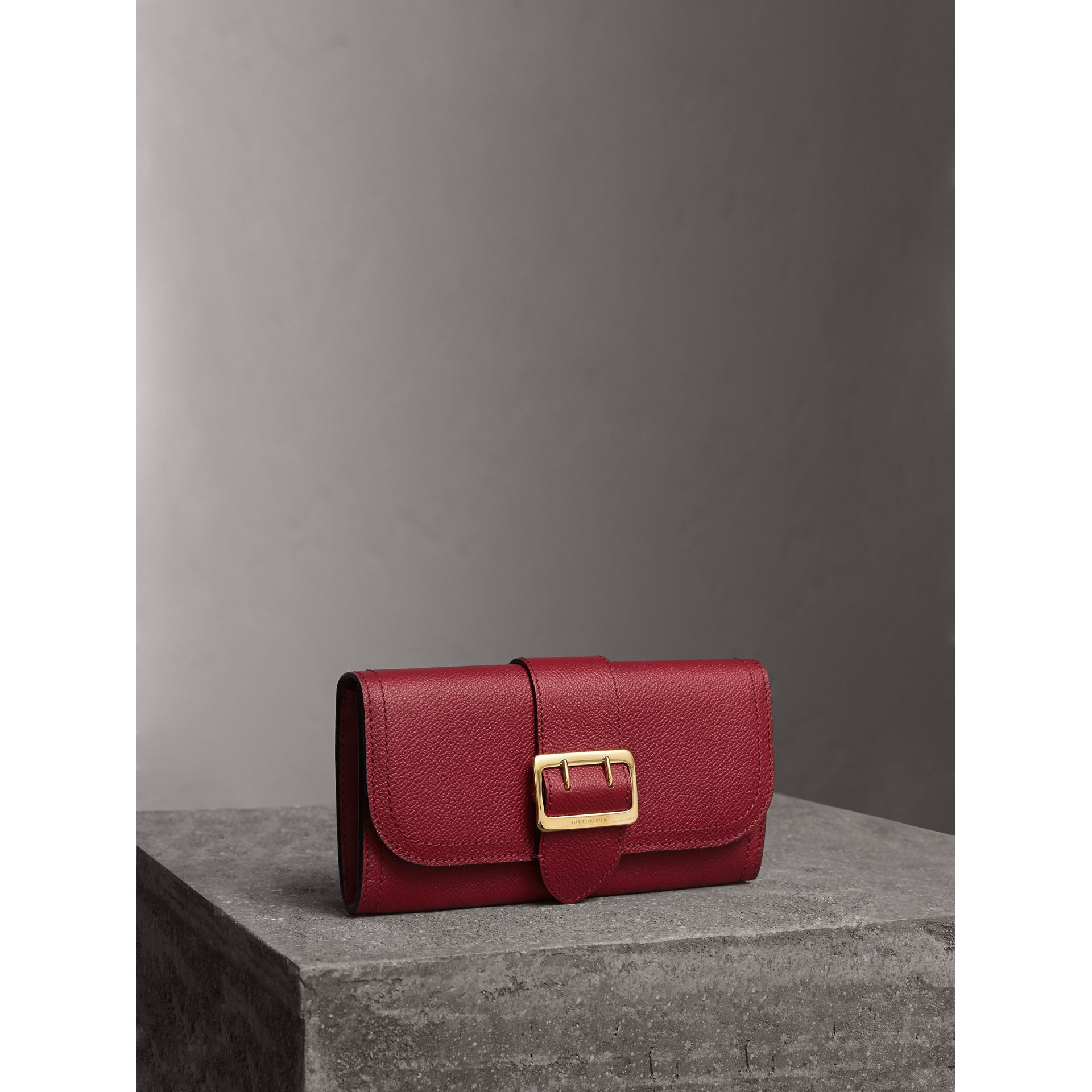 Textured Leather Continental Wallet in Parade Red - Women | Burberry - gallery image 1