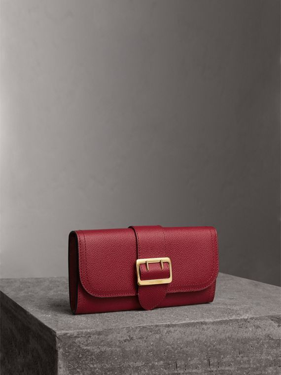 Textured Leather Continental Wallet in Parade Red - Women | Burberry