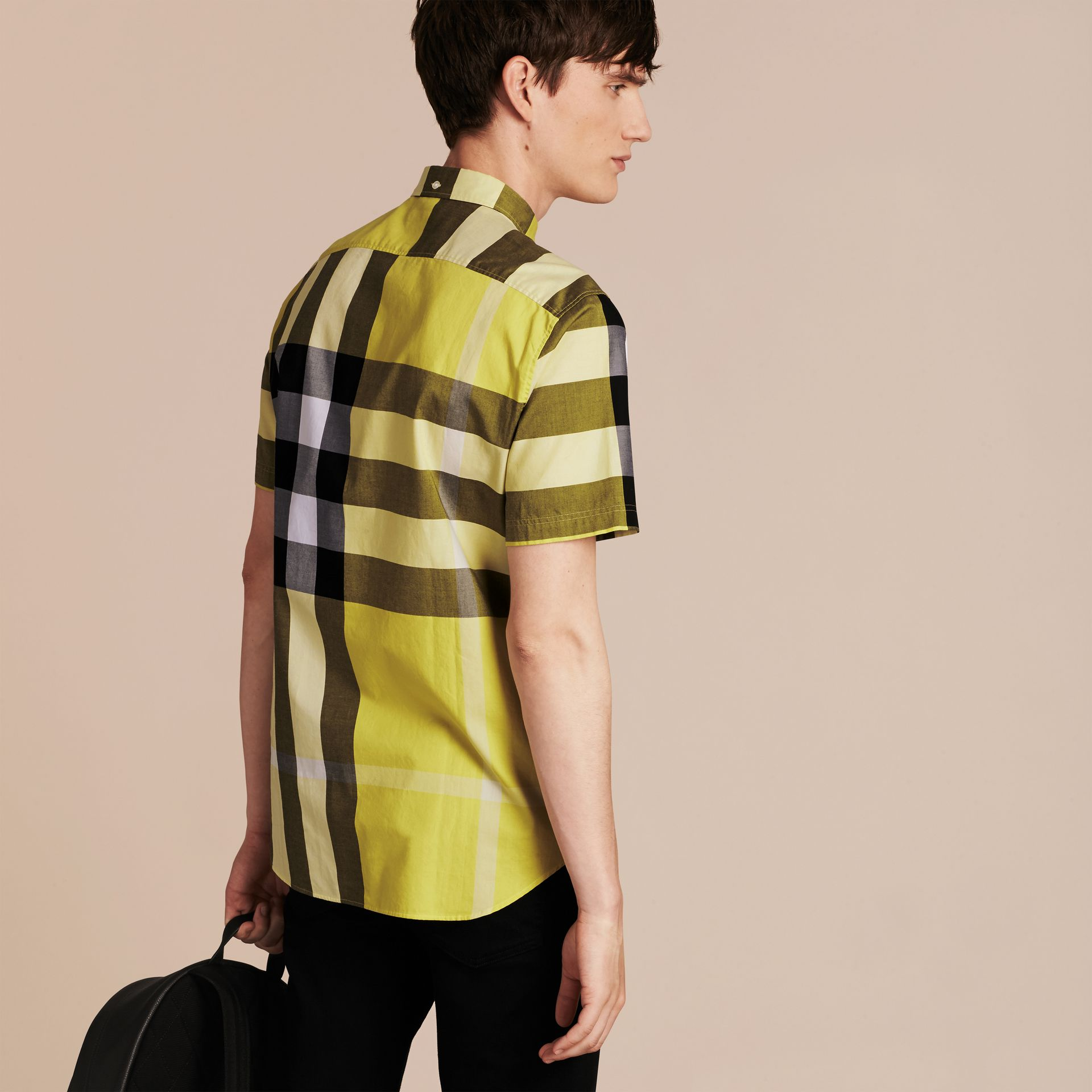 Pale yellow Short-sleeved Check Cotton Shirt Pale Yellow - gallery image 3