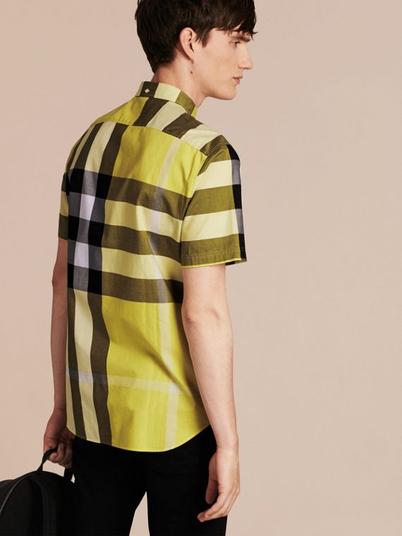 Pale yellow Short-sleeved Check Cotton Shirt Pale Yellow - cell image 2