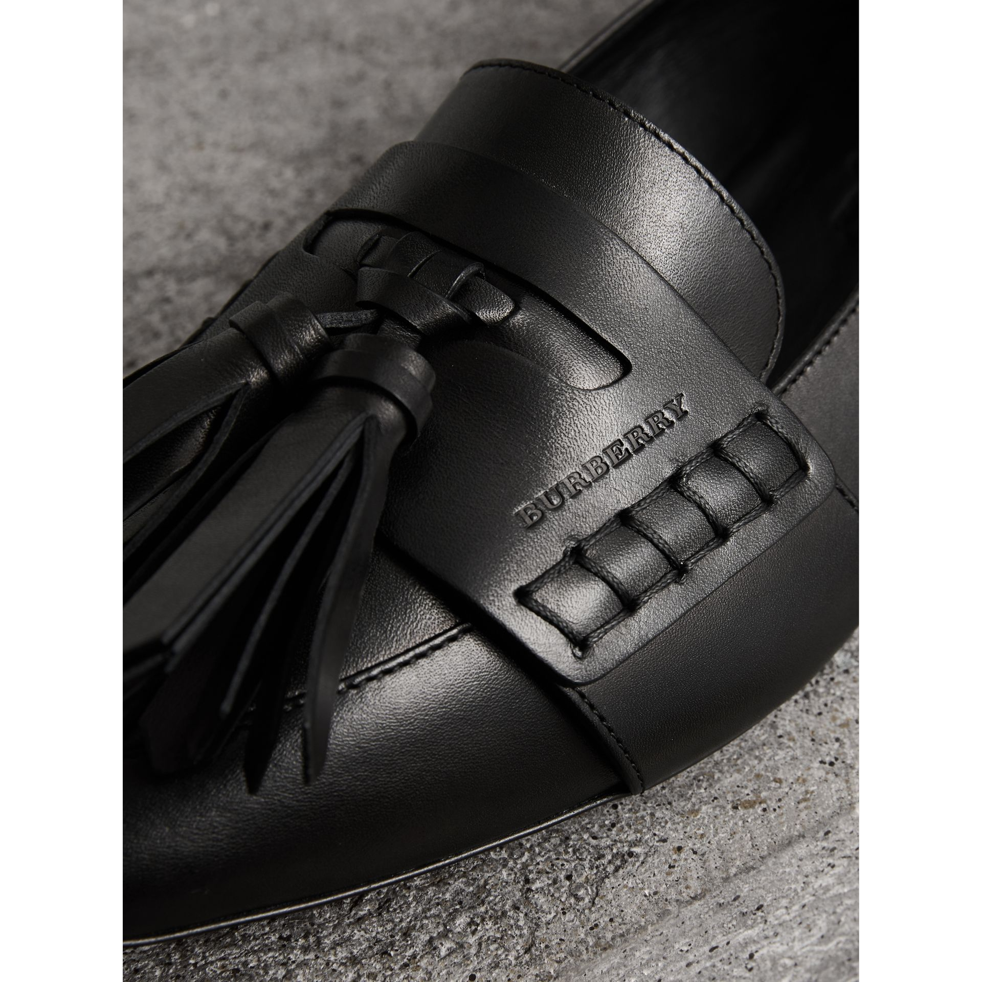Tasselled Leather Loafers in Black - Women | Burberry - gallery image 1