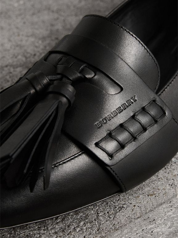 Tasselled Leather Loafers in Black - Women | Burberry - cell image 1