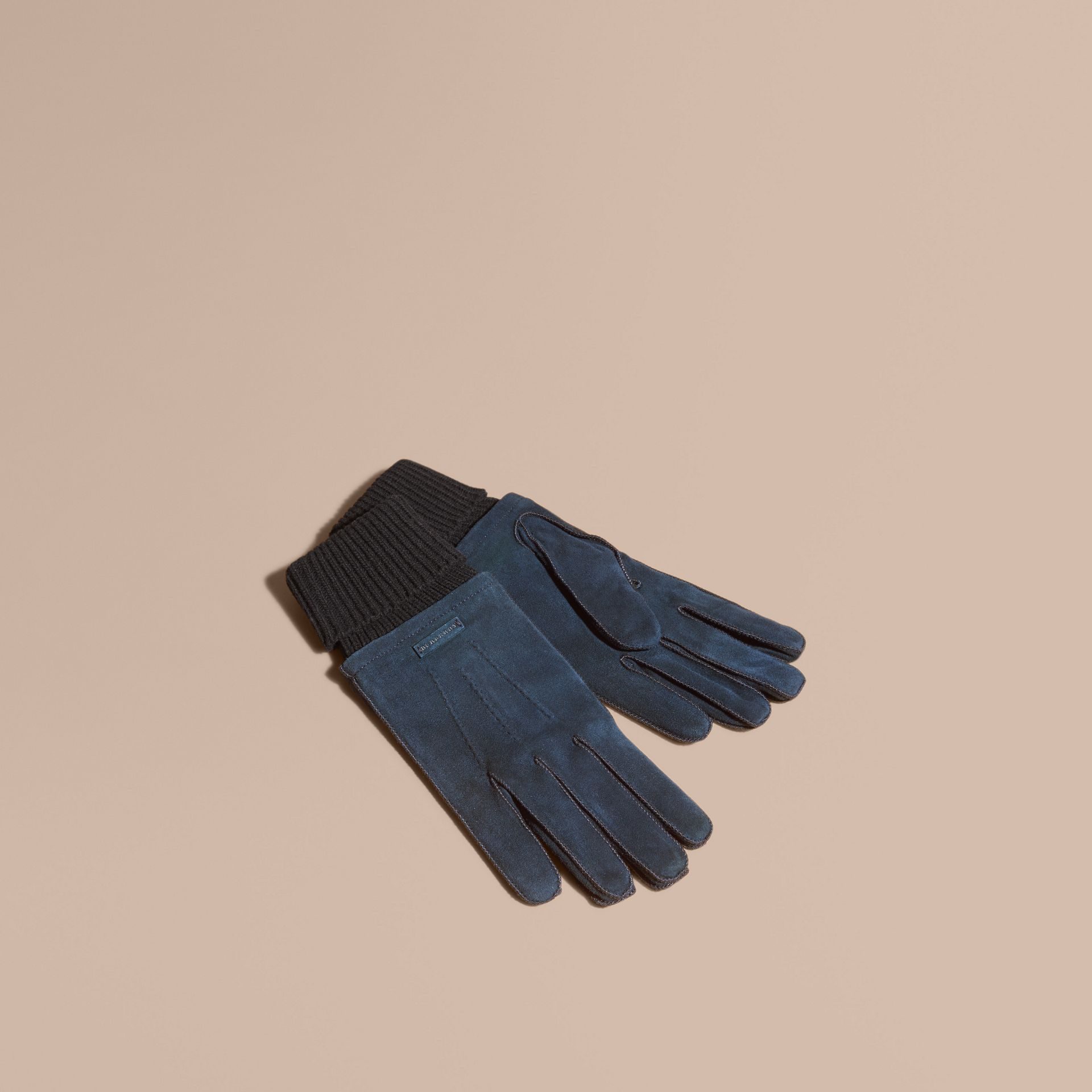 Wool Cashmere Ribbed Trim Suede Gloves in Ink - gallery image 1