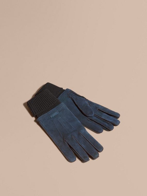 Wool Cashmere Ribbed Trim Suede Gloves Ink