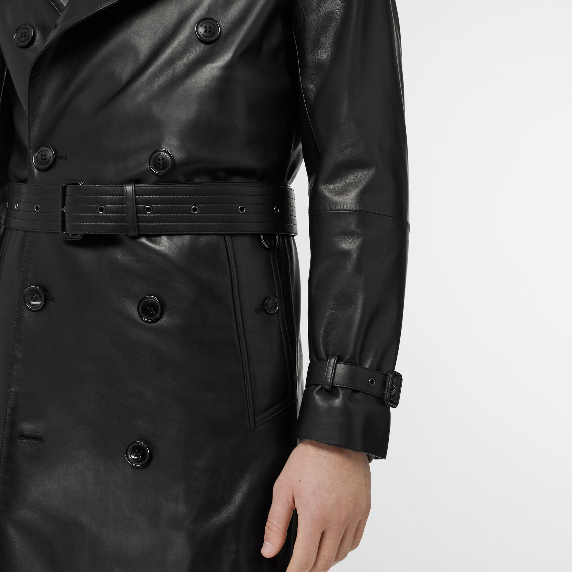 Lambskin Trench Coat in Black - Men | Burberry Singapore - gallery image 5