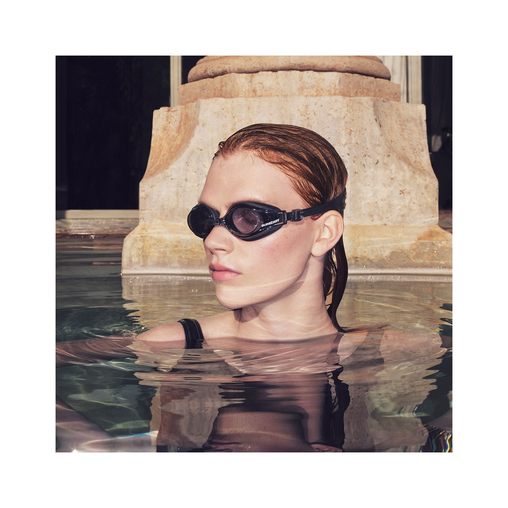 Logo Print Swimming Goggles in Black | Burberry - gallery image 1