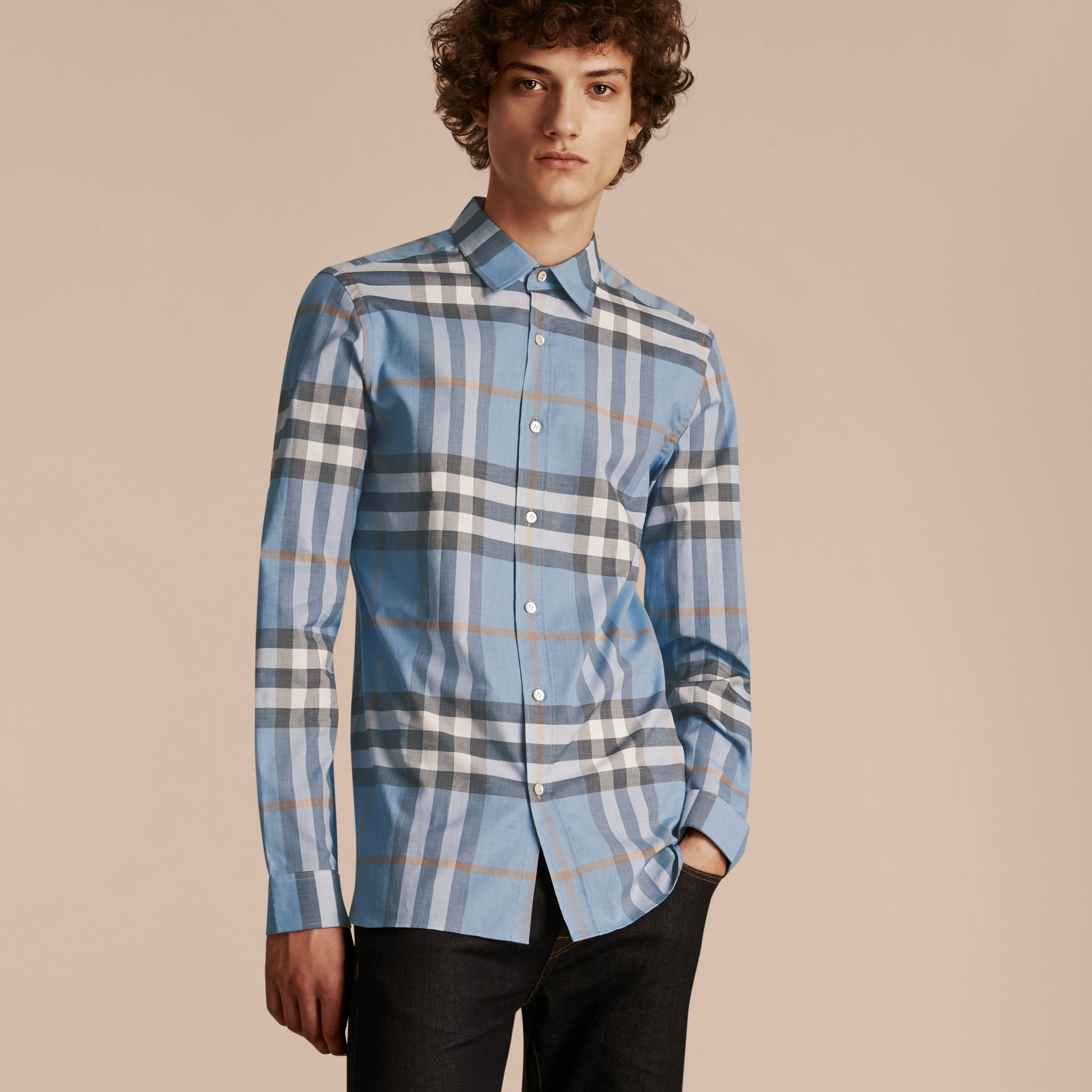 Check Cotton Oxford Shirt Cerulean Blue - gallery image 6