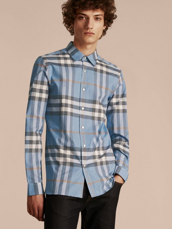 Check Cotton Oxford Shirt Cerulean Blue
