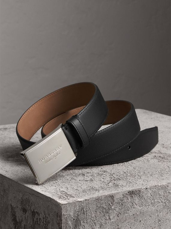 Brass Plaque Buckle Trench Leather Belt - Men | Burberry
