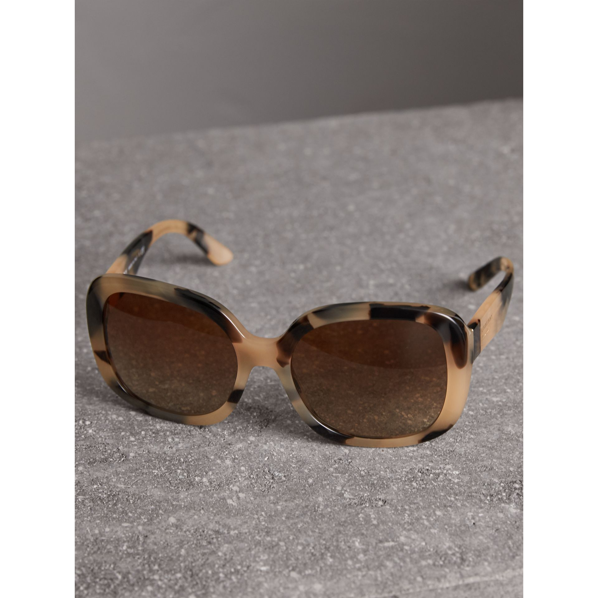 Square Frame Sunglasses in Honey - Women | Burberry United States - gallery image 3