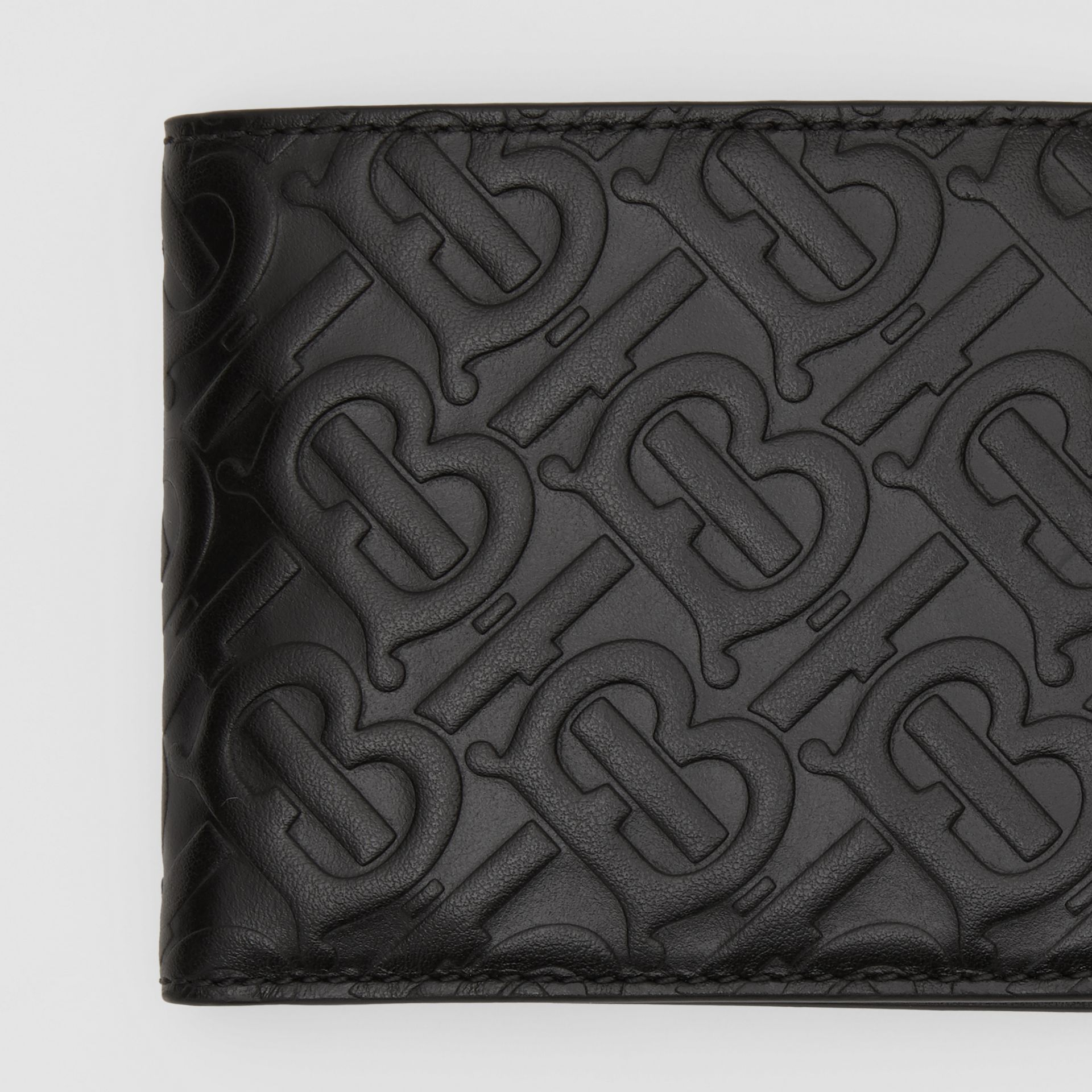 Monogram Leather International Bifold Coin Wallet in Black - Men | Burberry - gallery image 1
