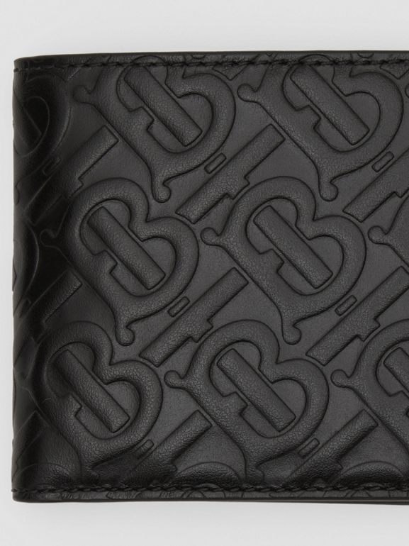 Monogram Leather International Bifold Coin Wallet in Black - Men | Burberry United States - cell image 1