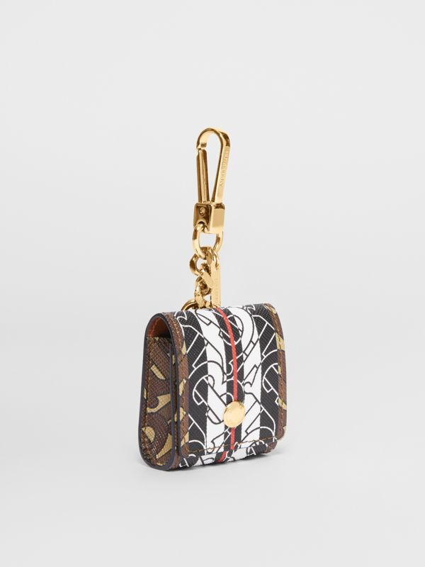 Monogram Stripe E-canvas AirPod Case in Bridle Brown | Burberry - cell image 3