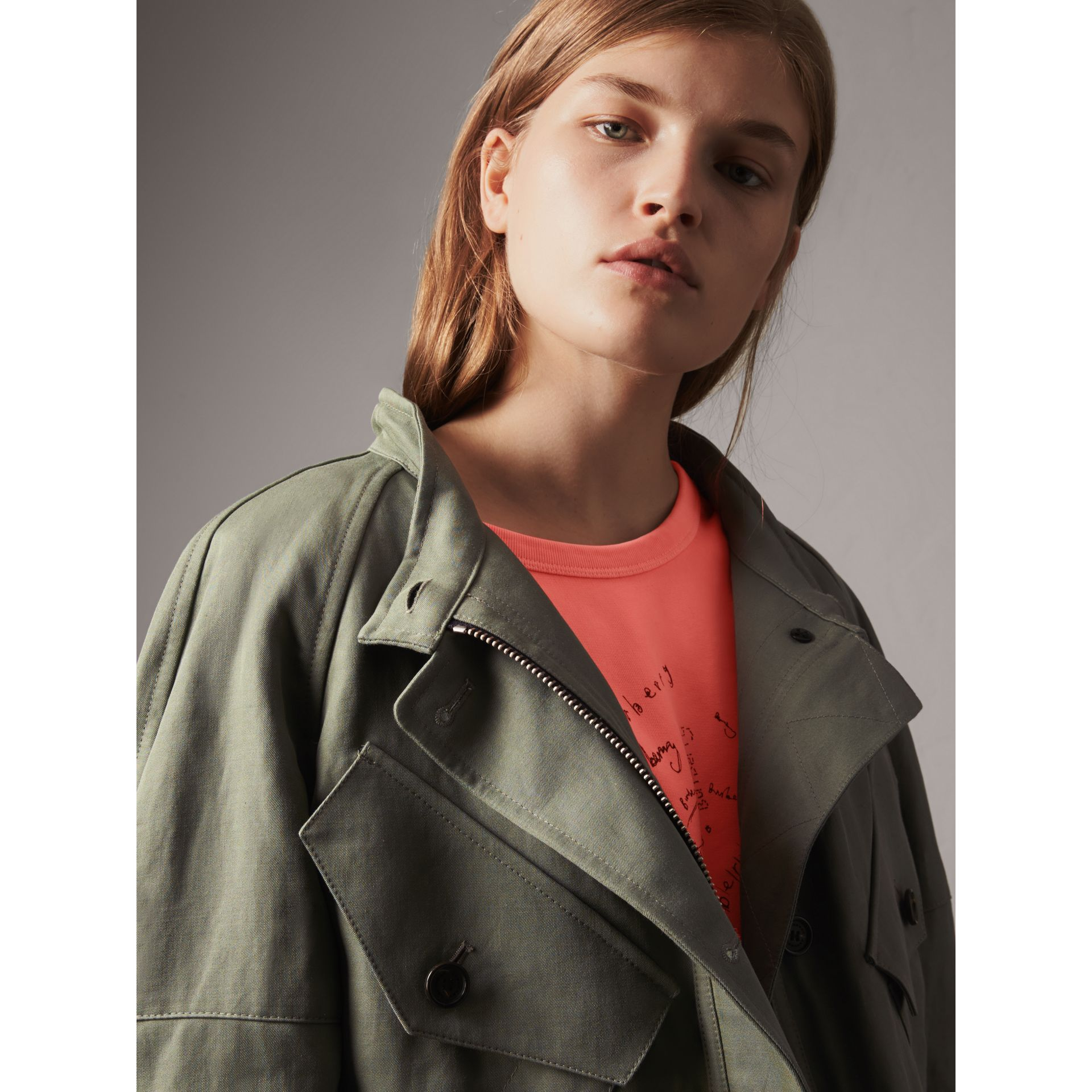 Ramie Cotton Jacket with Shearling Warmer in Slate Green - Women | Burberry United Kingdom - gallery image 1